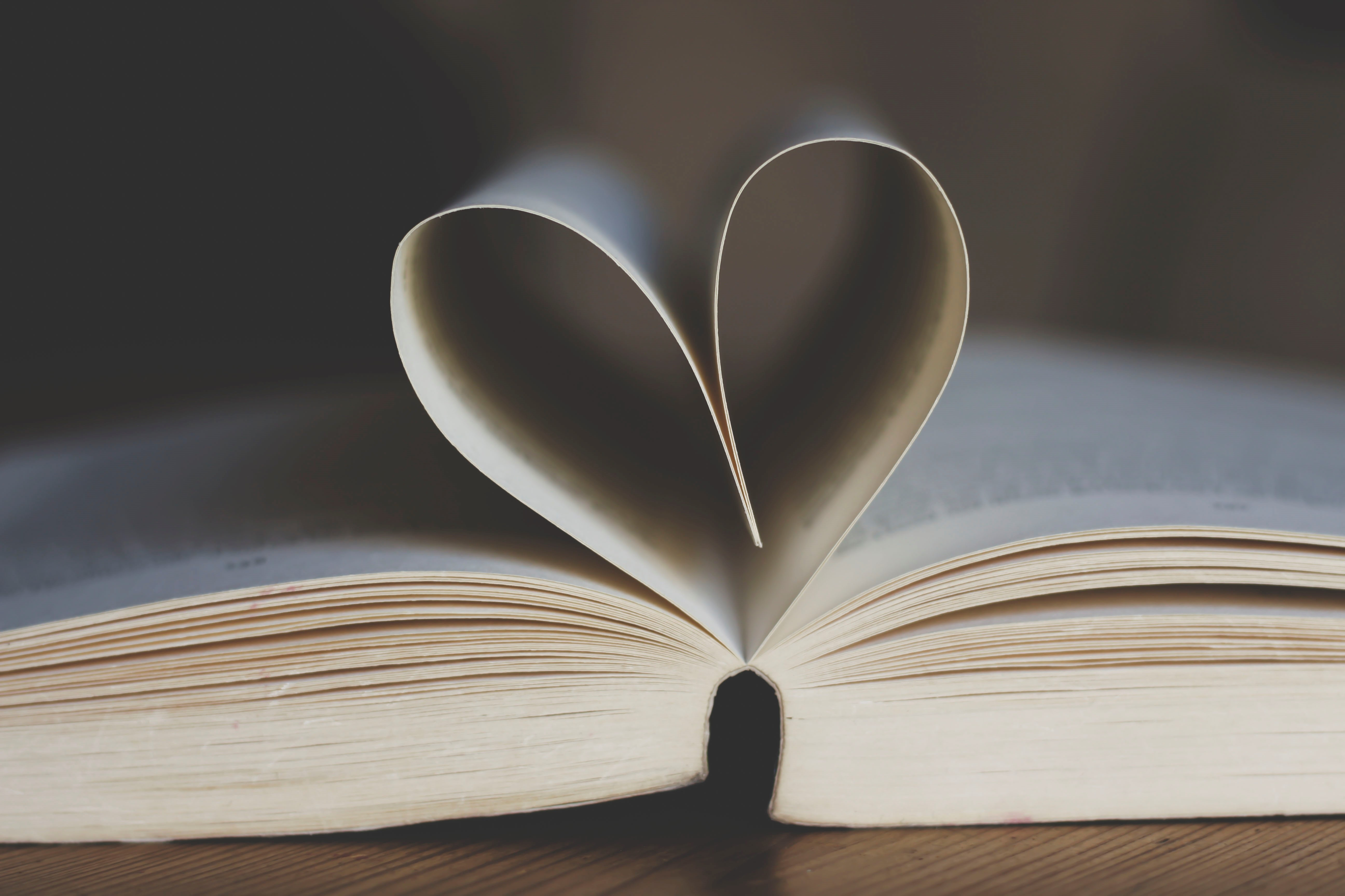 Close up view of an open book. The top pages are bent round in a heart shape.